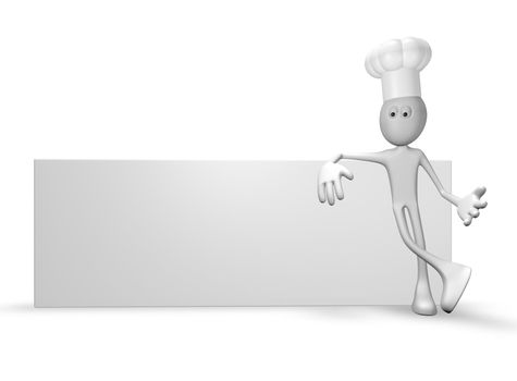 cartoon guy with cook hat leans on blank white board - 3d illustration