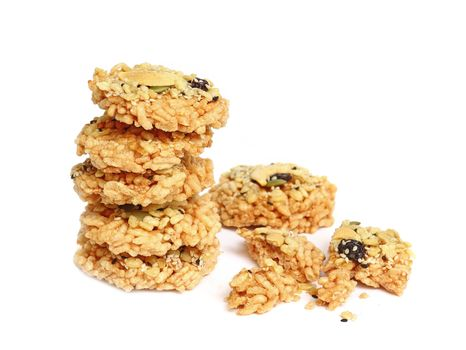 Crispy rice cracker isolated on white background