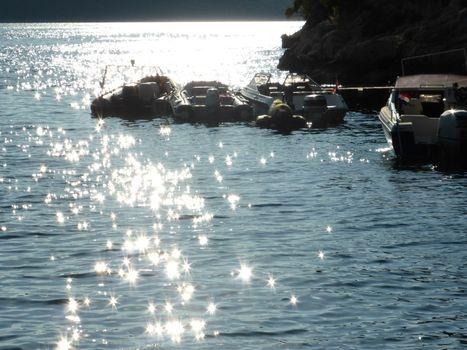 Adriatic sea near Rovinj: Rovigno or  Rovinj is a small but  charming Croatian city on the Adriatic sea.