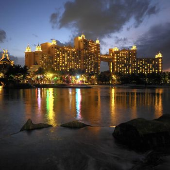 The luxury vacation resort of Atlantis on Paradise Island in the Bahamas.