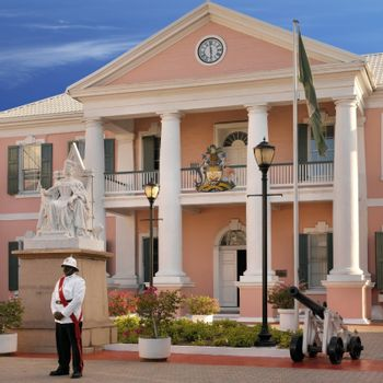Government House in the capital of Nassau in the Bahamas.