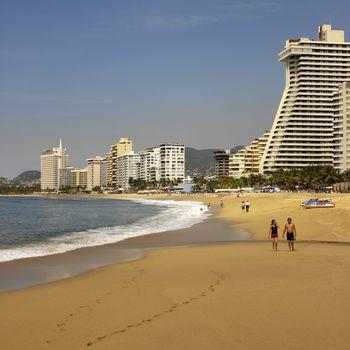 Beach scene in Acapulco in Mexico