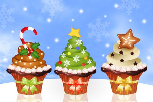 illustration of Christmas cupcakes