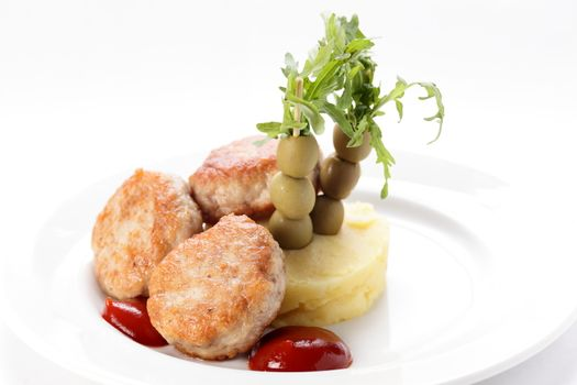 cold cutlets with garnish