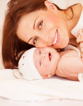 Newborn baby with mommy