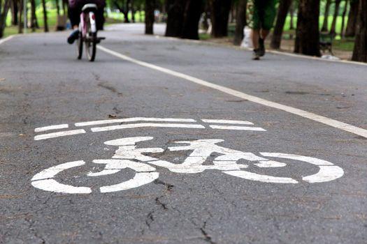 close up of Bike lane