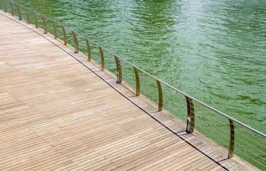 Wooden floor on riverbank