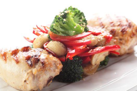 roasted chicken with garnish