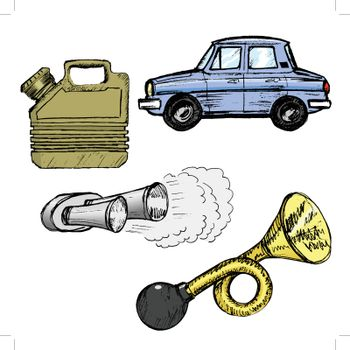 set of sketch illustration of different automotive objects