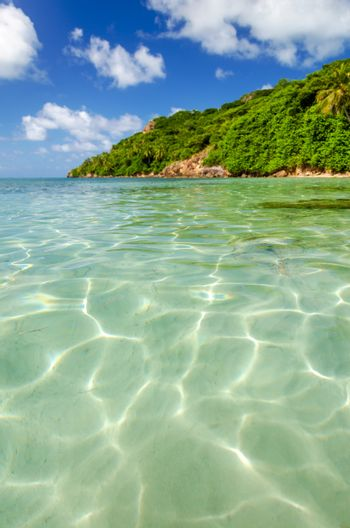 View of crystal clear Caribbean water on the island of San Andres y Providencia, Colombia