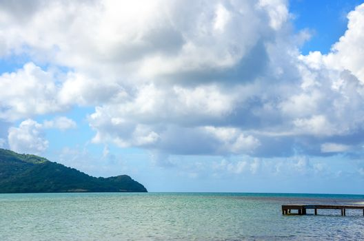 Small pier extending into the sea on San Andres y Providencia, Colombia