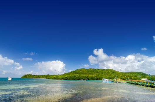 View of Santa Catalina island in Colombia in the province of San Andres y Providencia