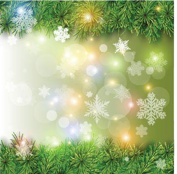 Christmas background, vector christmas tree, snow and lights.
