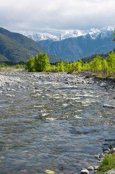 River in spring season, Toce river, Domodossola, Italy