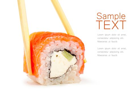 Close up view of sushi and chopsticks isolated over white background