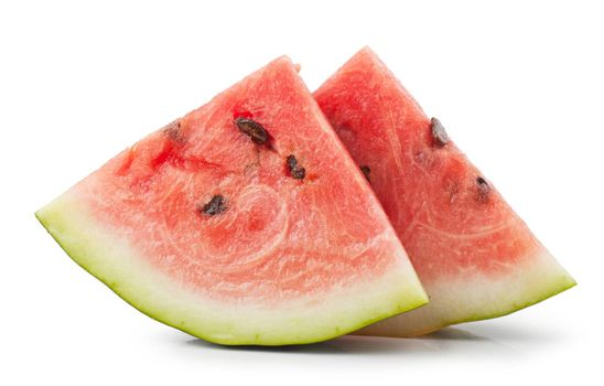 Macro view of fresh watermelon slices isolated over white