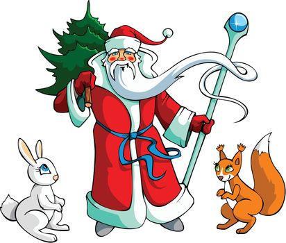 Santa Claus carrying Christmas-tree, with rabbit and squirrel, vector illustration