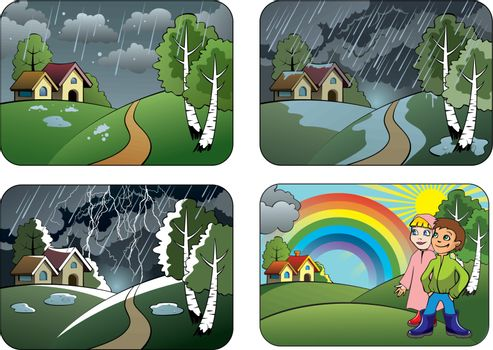 Set of different weather conditions: hail, downpour, thunderstorm and rainbow, vector illustration