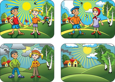 Set of different weather conditions: hot, warmly, cool and windy, vector illustration