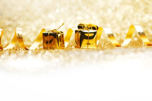 Golden gifts and ribbon