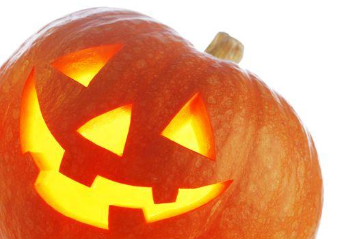 Halloween Pumpkin, funny Jack O'Lantern on white background