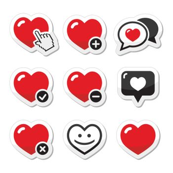Hearts vector red and black labels set isolated on white - love, relationship, couples