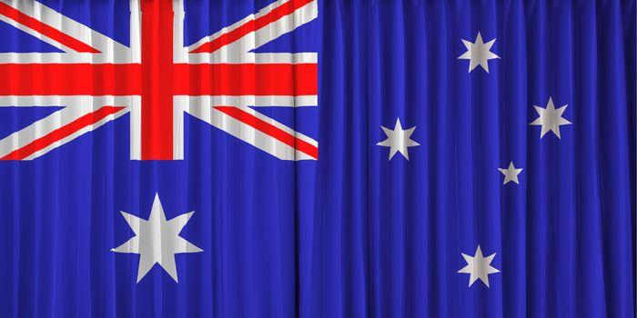 Australia flag on curtain
