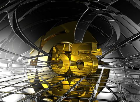 number fifty five in abstract futuristic space - 3d illustration