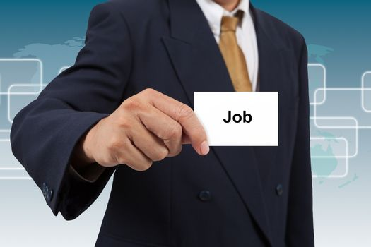 Businessman show a white card with word Job