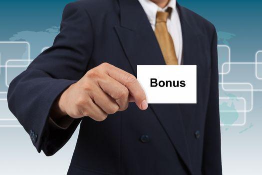 Businessman show a white card with word Bonus