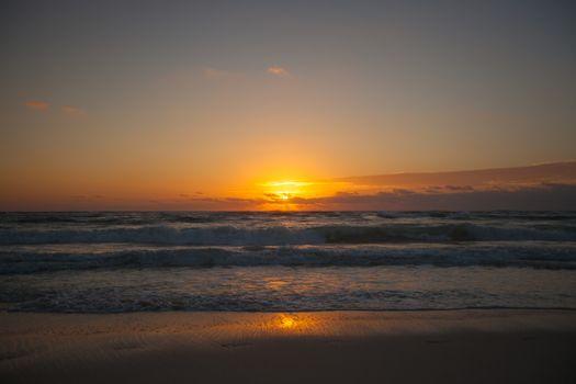 Amazing colorful sunset on exotic beach
