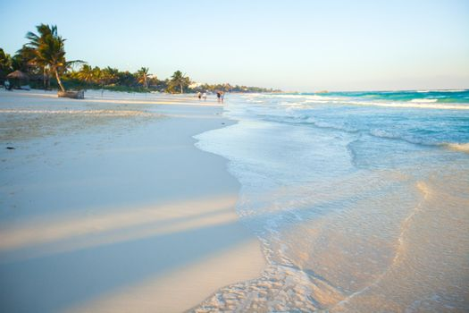 Lovely clean landscape on a paradise carribean beach in Mexico