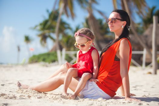 Family vacation on carribean beach