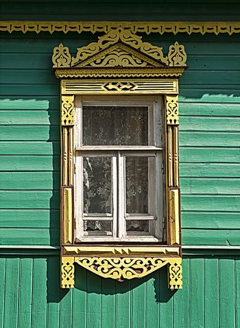 Window with carved platbands