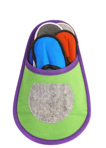 Colourful slippers into big slipper