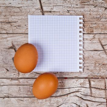 eggs and blank paper