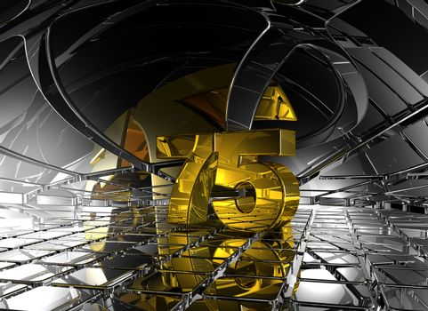 number seventy five in abstract futuristic space - 3d illustration