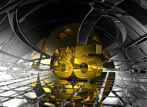 number eighty five in abstract futuristic space - 3d illustration