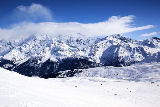 Horizontal view of winter mountain landscape