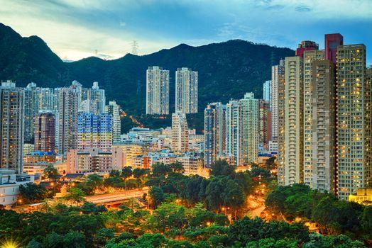 Hong Kong downtown sunset, Wong Tai Sin