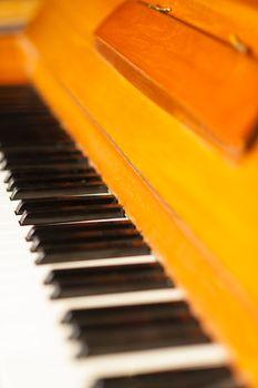 Piano keyboard, closeup shot