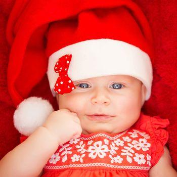 Little baby in Santa hat
