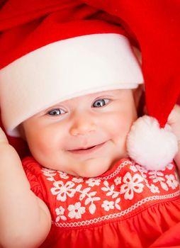 Newborn baby on Christmas eve