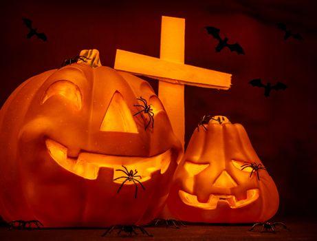Halloween on cemetery