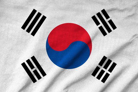 Ruffled South Korea Flag