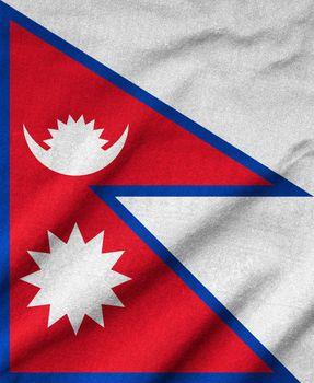 Ruffled Nepal Flag