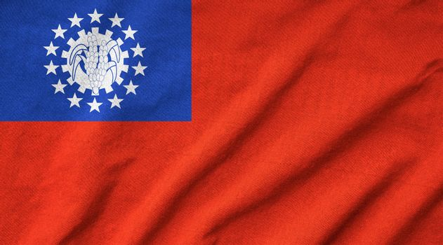Ruffled Myanmar Flag