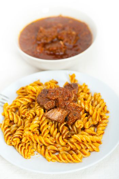 fusilli pasta with neapolitan style ragu meat sauce