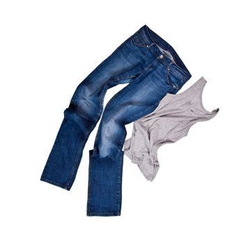 blue jeans and grey shirt
