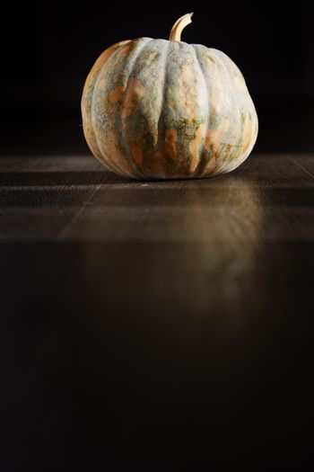 Pumpkin for Halloween in the dark room. Vertical photo